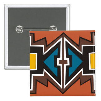 Arte africano abstracto colorido pin cuadrado