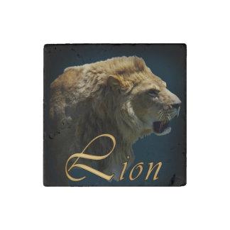 Arte africano de la foto de la fauna del león el imán de piedra