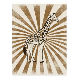 Arte africano de la original de la jirafa postal