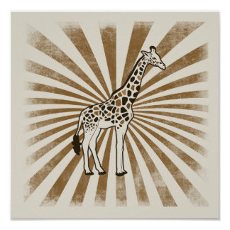Arte africano de la original de la jirafa póster
