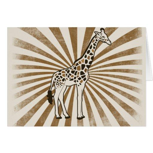 Arte africano de la original de la jirafa tarjeta de felicitación