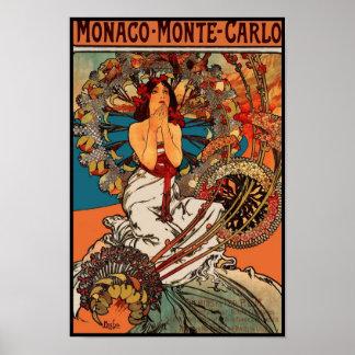Arte Alfons Mucha Mónaco Monte Carlo del vintage