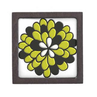 Arte amarillo de Digitaces de la flor del vitral Cajas De Regalo De Calidad