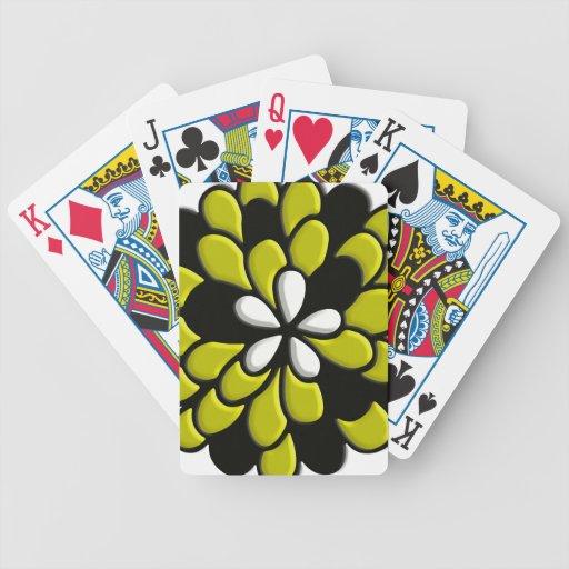 Arte amarillo de Digitaces de la flor del vitral Baraja Cartas De Poker
