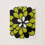 Arte amarillo de Digitaces de la flor del vitral Rompecabezas