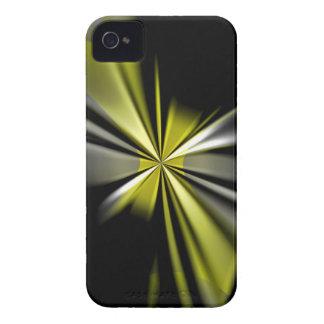 Arte amarillo de la flor floral funda para iPhone 4 de Case-Mate