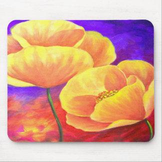 Arte amarillo de la pintura de la flor de la amapo tapetes de raton
