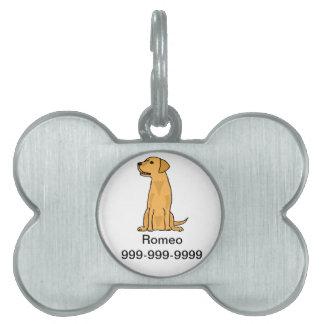 Arte amarillo del perro de perrito del labrador re placa de mascota