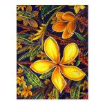 Arte amarillo del Plumeria de la isla de CBjork Tarjetas Postales