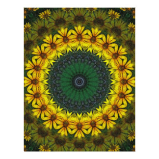 "Arte amarillo grande 4 del caleidoscopio del Wildf Folleto 8.5"" X 11"""