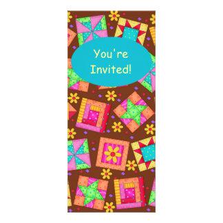 Arte amarillo marrón del bloque del edredón de invitaciones personalizada