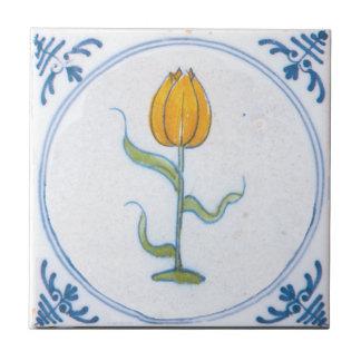 Arte amarillo Trivet de Delft del tulipán del vint Azulejo Cuadrado Pequeño