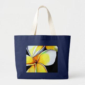 Arte amarillo tropical de la original de la flor bolsa tela grande