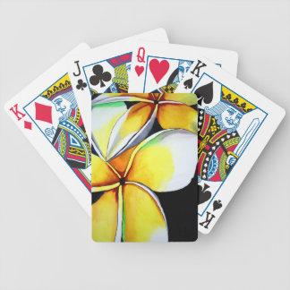 Arte amarillo tropical de la original de la flor d barajas de cartas