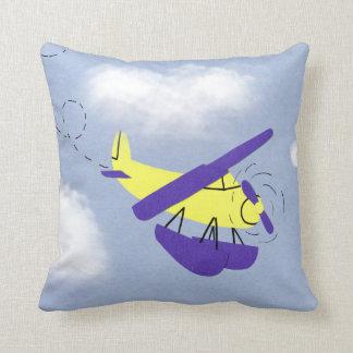 Arte amarillo y azul del aeroplano del dibujo anim cojines