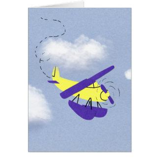 Arte amarillo y azul del aeroplano del dibujo anim tarjeta de felicitación