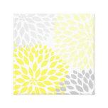 Arte amarillo y gris de la pared del cuadrado de l impresiones de lienzo