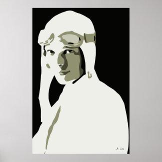 Arte Amelia Earhart del vector del Grayscale 24 x Poster