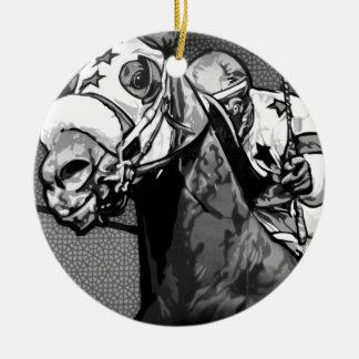 Arte americano de la carrera de caballos adorno redondo de cerámica
