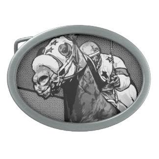Arte americano de la carrera de caballos hebilla de cinturon oval