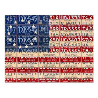 Arte americano de la placa de la bandera del postal