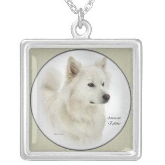 Arte americano de los regalos del perro esquimal colgante cuadrado