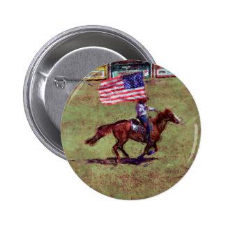 Arte americano del rodeo de la vaquera de la pin redondo de 2 pulgadas