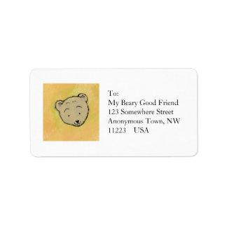 Arte amistoso feliz del oso de la diversión único etiqueta de dirección