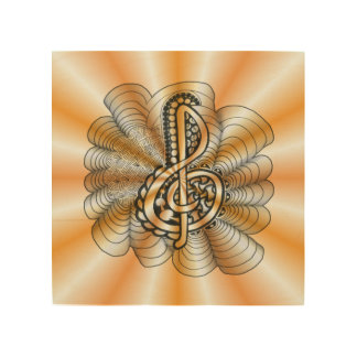 Arte anaranjado de la música del Clef agudo de Impresión En Madera