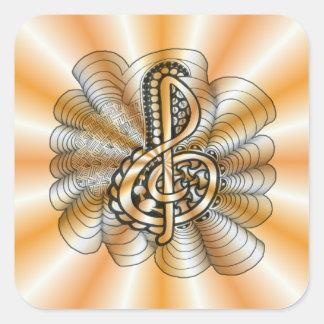 Arte anaranjado de la música del Clef agudo de Pegatina Cuadrada
