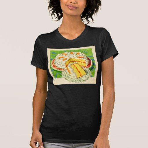 Arte anaranjado de la torta de la nata del vintage camiseta