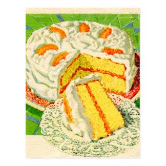 Arte anaranjado de la torta de la nata del vintage tarjeta postal