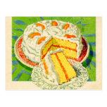 Arte anaranjado de la torta de la nata del vintage tarjetas postales