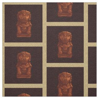 Arte anaranjado del pixel del perro del león telas