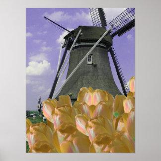 Arte anaranjado del poster de Holanda del molino d