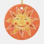 Arte anaranjado sonriente de Sun del juego del Ornaments Para Arbol De Navidad
