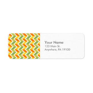 Arte anaranjado verde del diseño del zigzag del etiquetas de remite