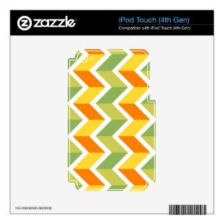 Arte anaranjado verde del diseño del zigzag del iPod touch 4G calcomanías