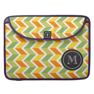 Arte anaranjado verde del diseño del zigzag del mo funda para macbooks