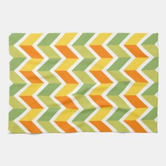 Arte anaranjado verde del diseño del zigzag del toalla de cocina