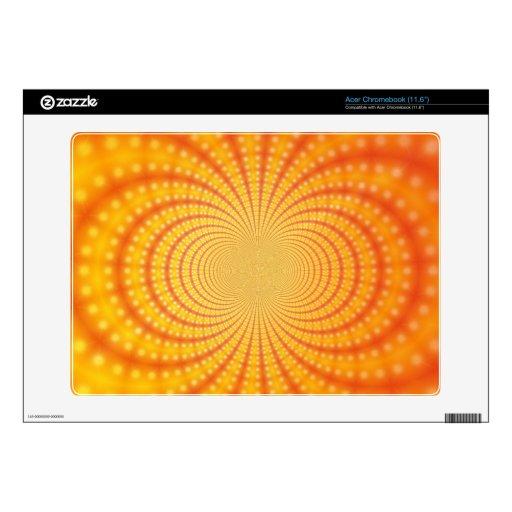 Arte anaranjado y amarillo del fractal acer chromebook calcomanías