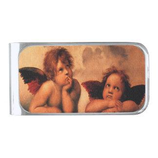 Arte angelical de la querube de Raphael Clip Para Billetes Plateado