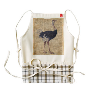 Arte animal del diccionario del vintage del pájaro delantal zazzle HEART