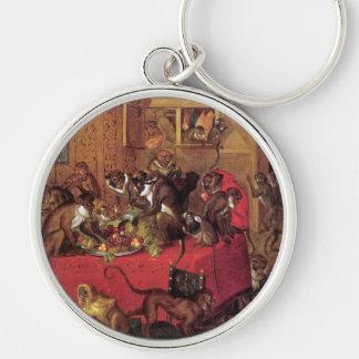 Arte animal del vintage del banquete del mono de V Llavero Personalizado