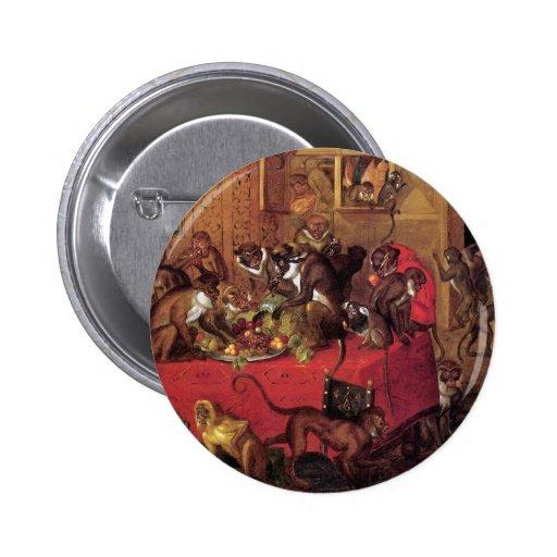 Arte animal del vintage del banquete del mono de V Pins