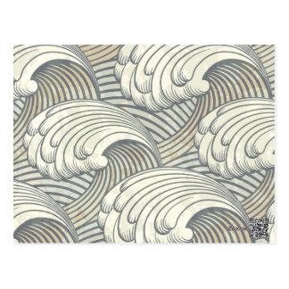 Arte antiguo de Japón del modelo de olas oceánicas Tarjeta Postal