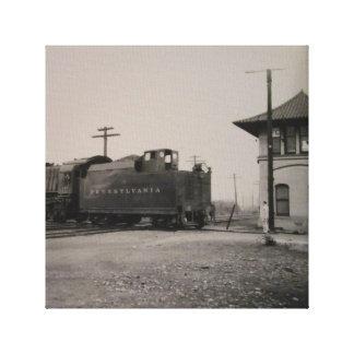 Arte antiguo de la lona del tren y de la estación impresión en lona