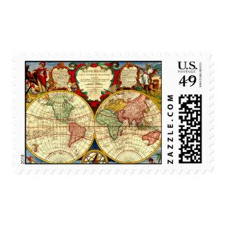 Arte antiguo del vintage del mapa del globo del timbres postales