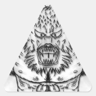 Arte antiguo japonés del tatuaje de la bestia pegatina triangular