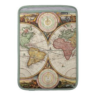 Arte antiguo raro de los hemisferios del mapa del funda  MacBook